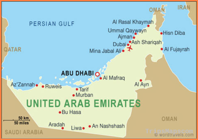 United Arab Emirates Map, United Arab Emirates Travel Maps from Word
