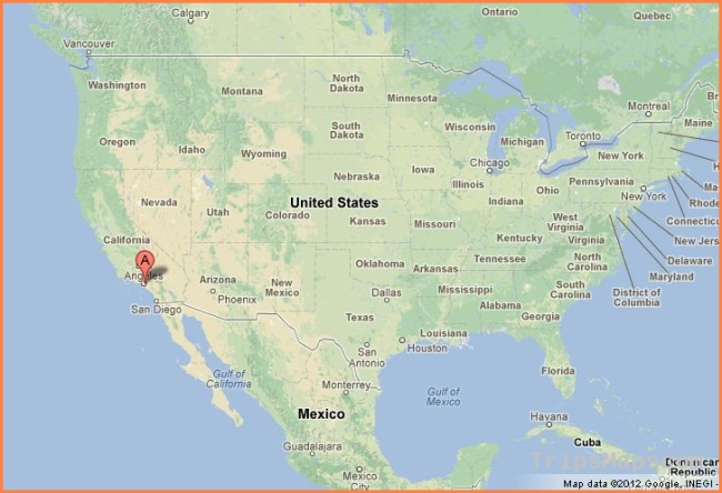 Los Angeles on Map of USA