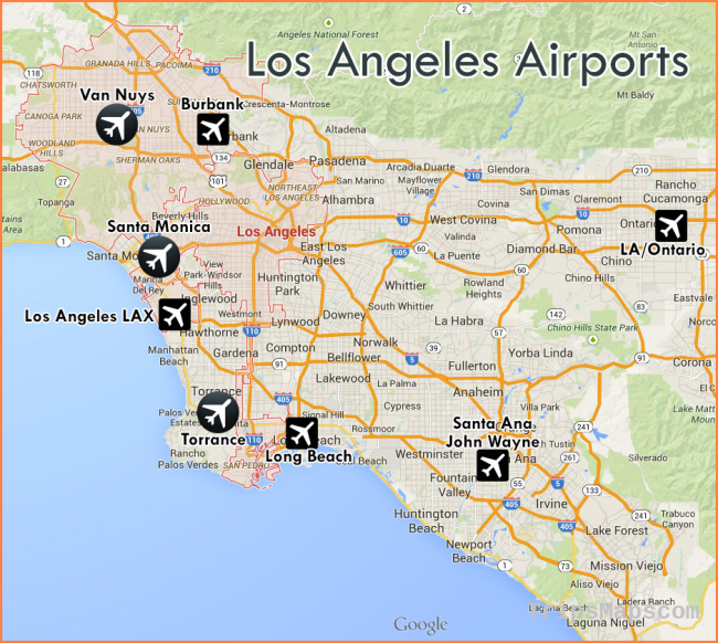 airports around los angeles map Where Is Los Angeles Los Angeles Map Location Travel Map airports around los angeles map
