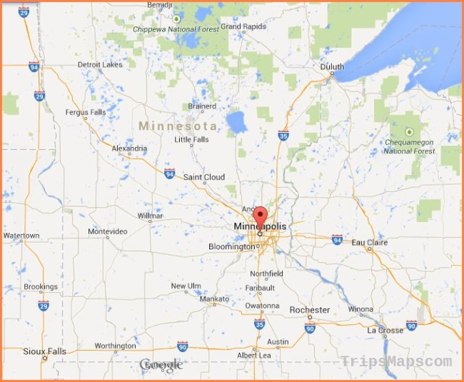 Where is Minneapolis on map of Minnesota