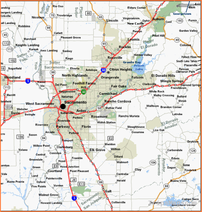 Map of Sacramento and Surrounding Communities