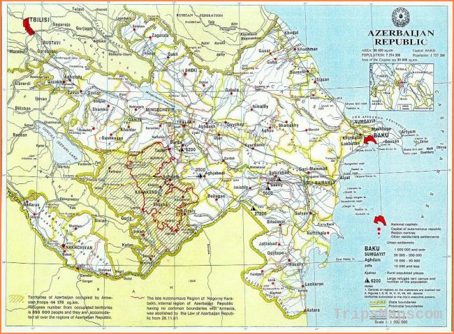 Maps of Azerbaijan | Detailed map of Azerbaijan in English