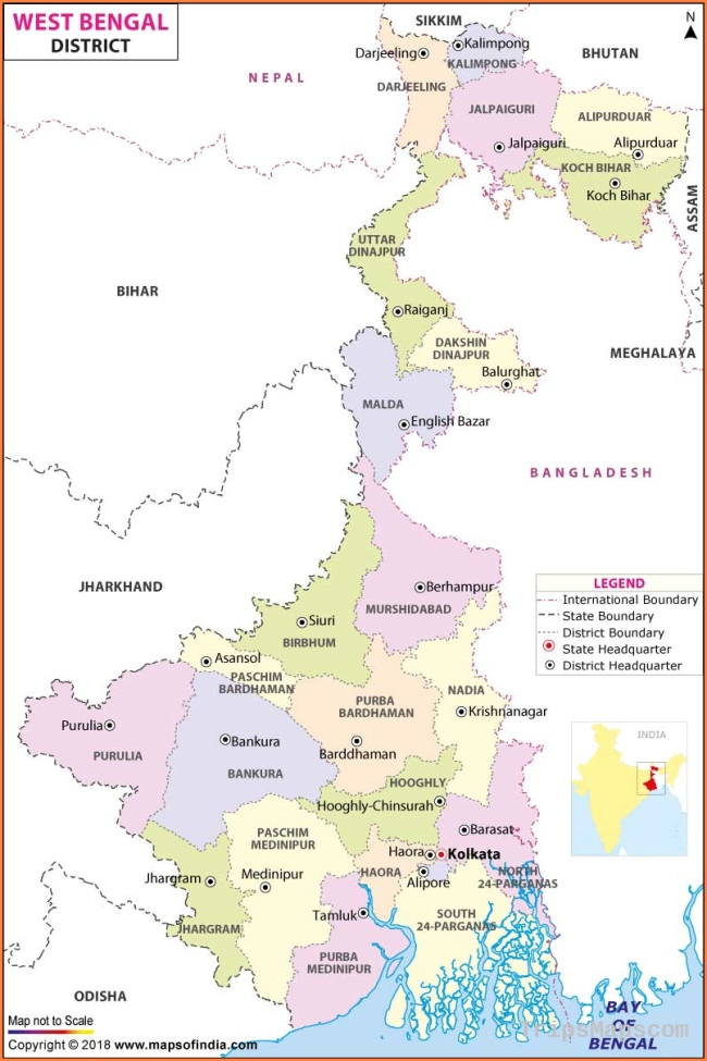 West Bengal District Map, List of Districts in West Bengal