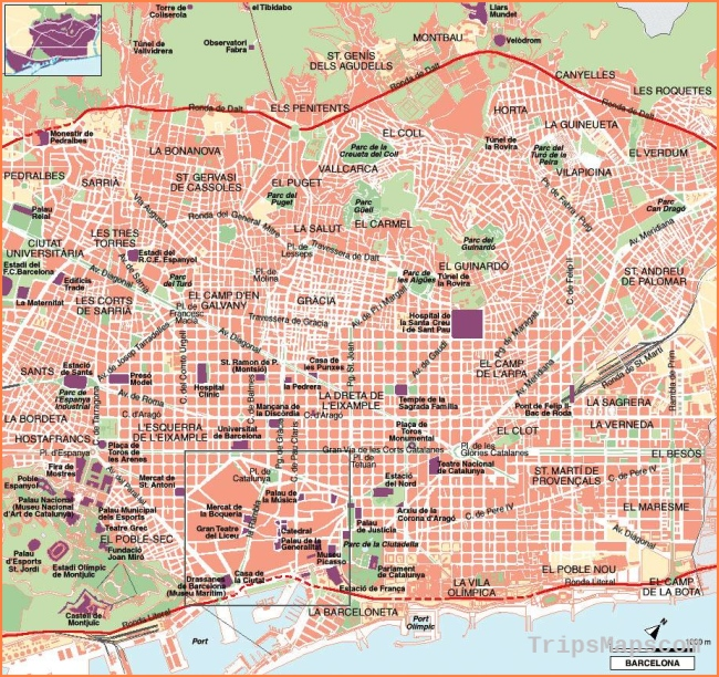 Large Barcelona Maps for Free Download and Print