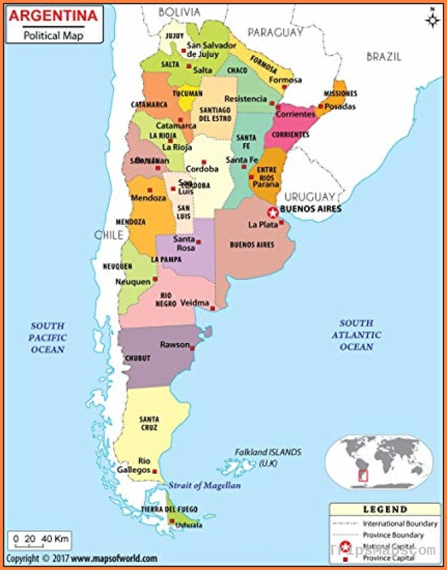 Amazon.com : Argentina Political Map