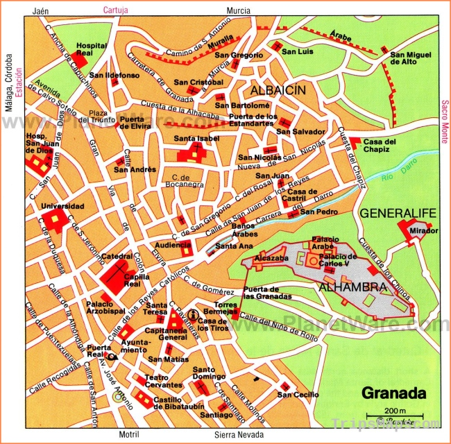 Granada Map - Tourist Attractions | Southern Spain