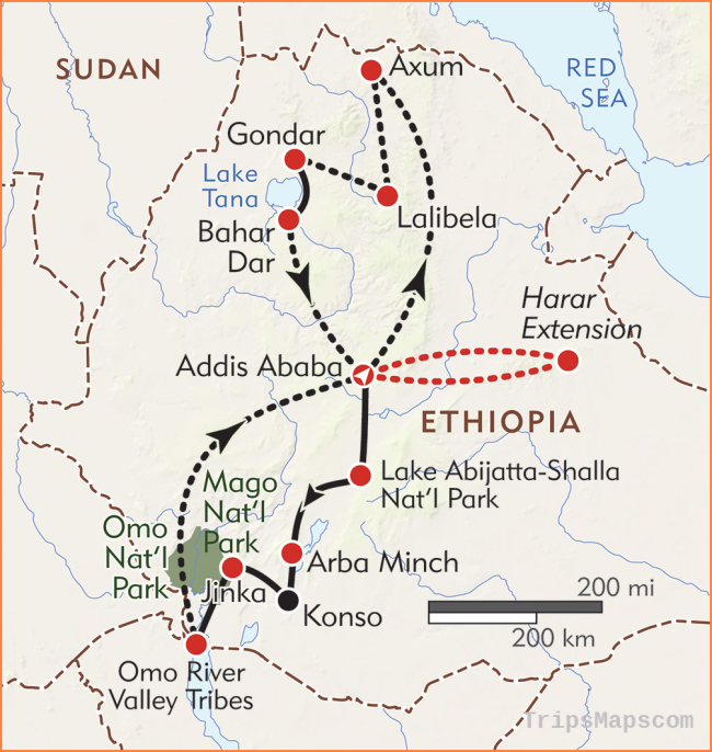 Lost Worlds of Ethiopia - Itinerary & Map