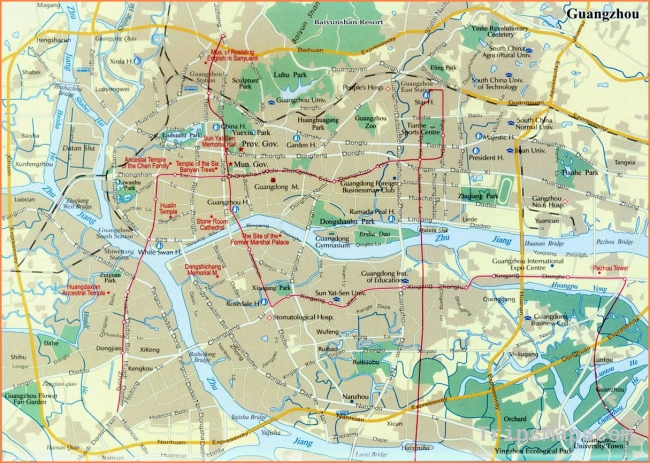 Large Guangzhou Maps for Free Download and Print  
