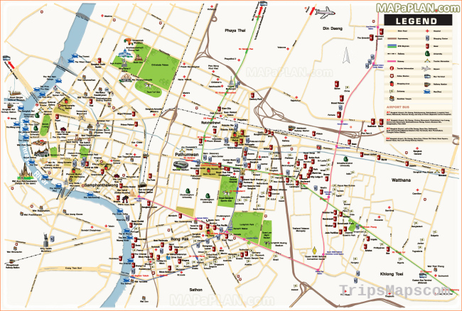 Bangkok maps - Top tourist attractions - Free, printable city street map