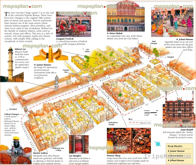 Jaipur maps - Top tourist attractions - Free, printable city street