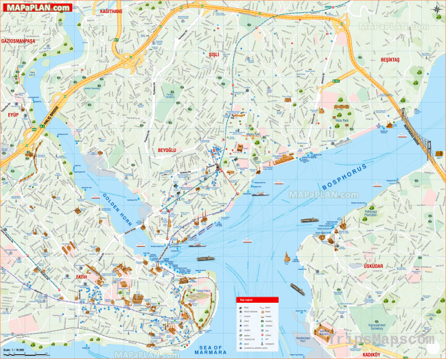 Istanbul maps - Top tourist attractions