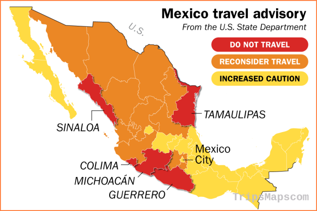 Mexico Travel Warning Map Shows State Department Advisories