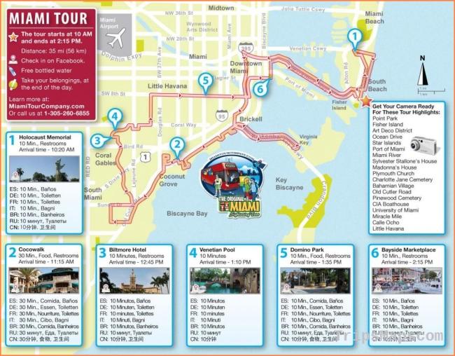 Miami attractions map - Miami tourist attractions map