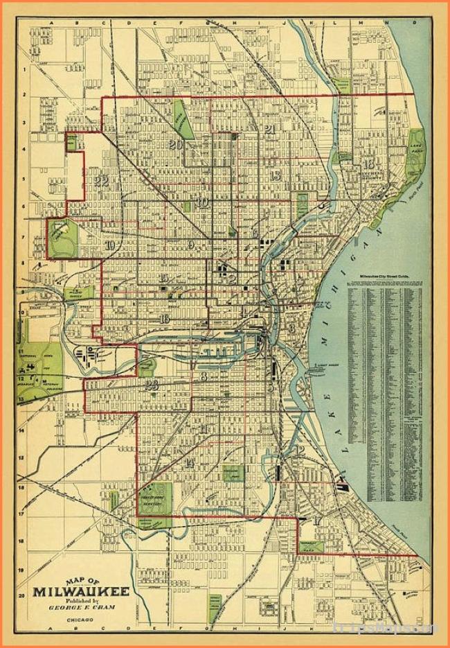Milwaukee map - Old map of Milwaukee print