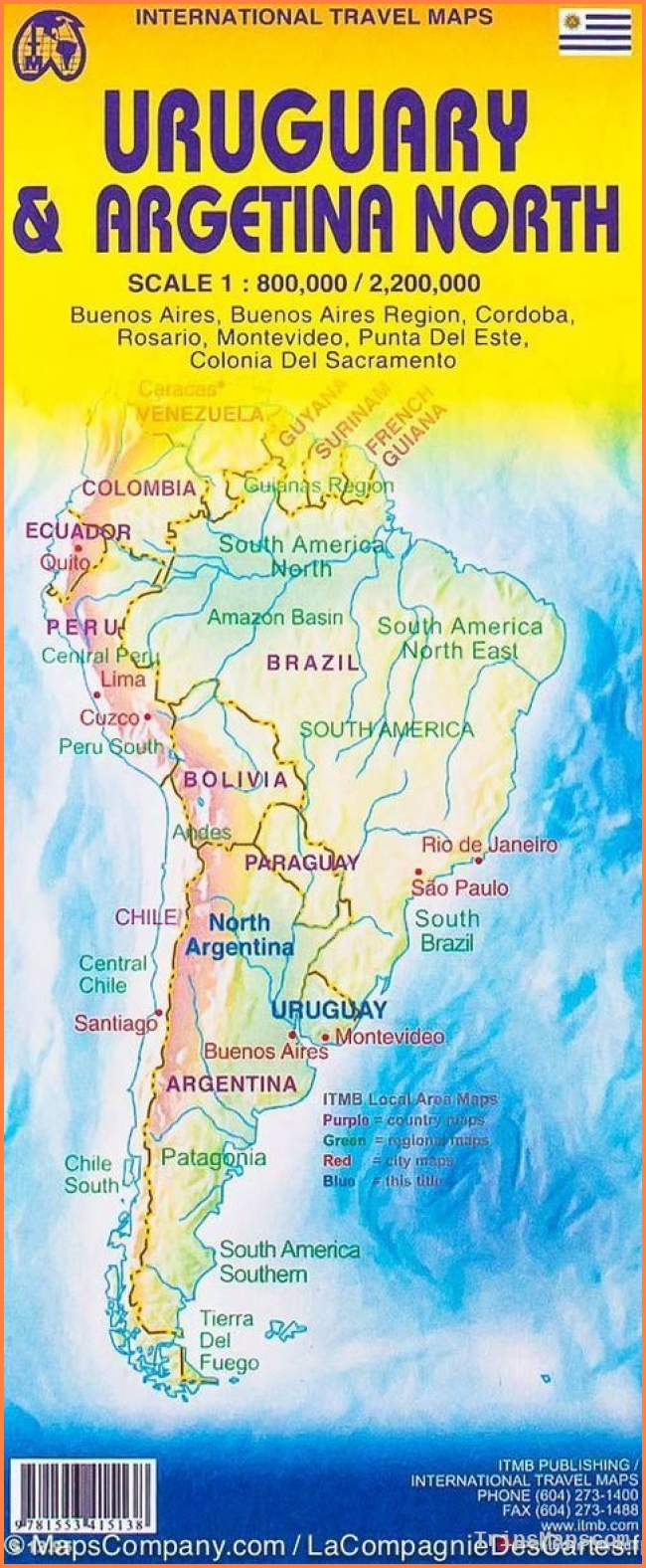 Map of northern Argentina & Uruguay