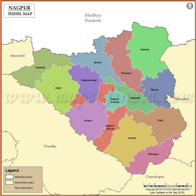 Nagpur Tehsil Map, Talukas in Nagpur
