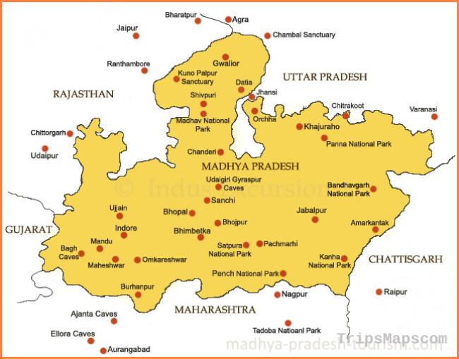 Madhya Pradesh Map, Madhya Pradesh Guide Map, Tourist Map, Road Map
