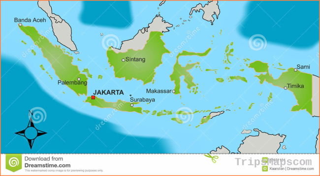 Map of Indonesia stock vector. Illustration of border