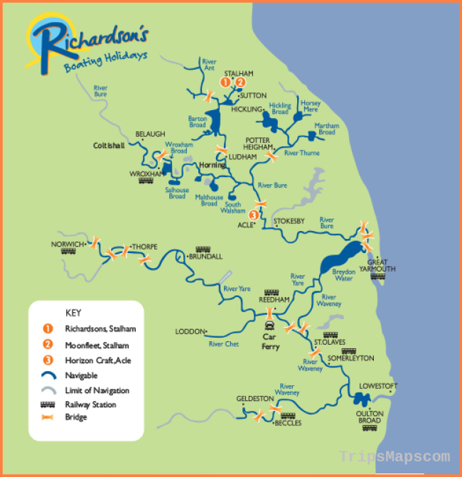 Map of the Broads - Richardson's Boating Holidays