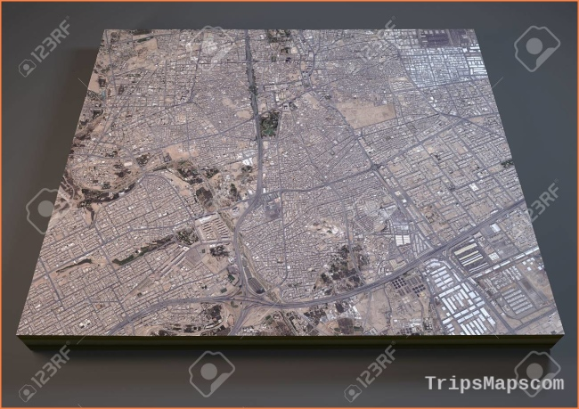 Riyadh Saudi Arabia 3d Map Satellite View Stock Photo, Picture And