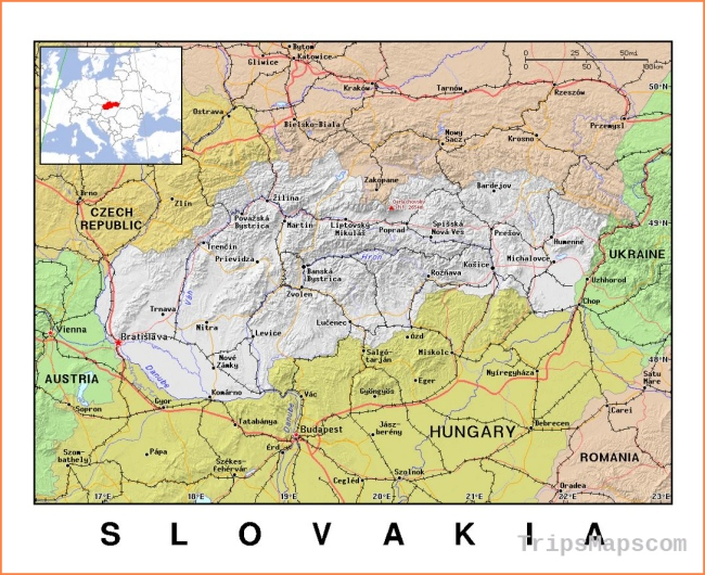 Maps of Slovakia | Collection of maps of Slovakia