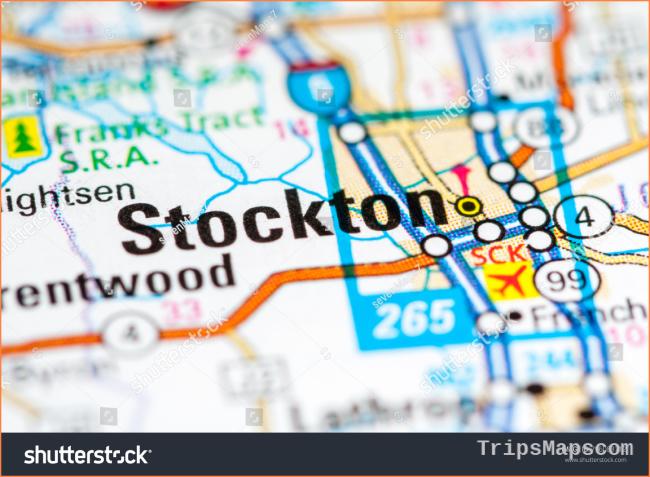 Stockton California USA On Map