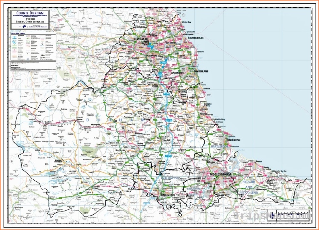 Durham County Wall Map - Paper, Laminated or Mounted on Pin Board