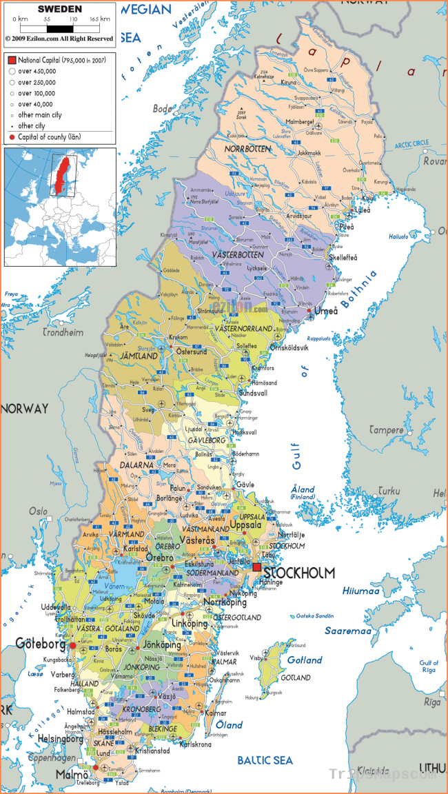 Maps of Sweden | Detailed map of Sweden in English | Tourist map of ...