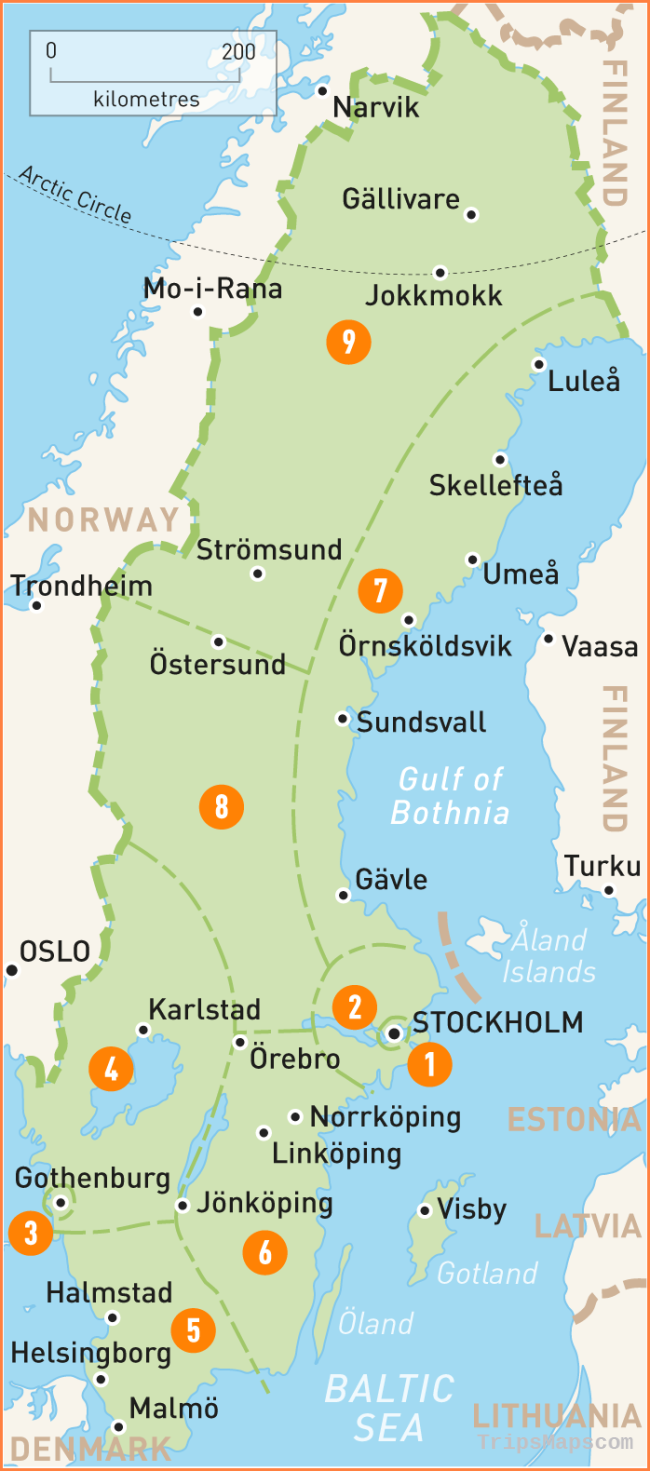 Map of Sweden | Sweden Regions | Rough Guides | Rough Guides