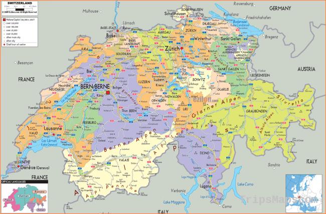 Maps of Switzerland | Detailed map of Switzerland in English