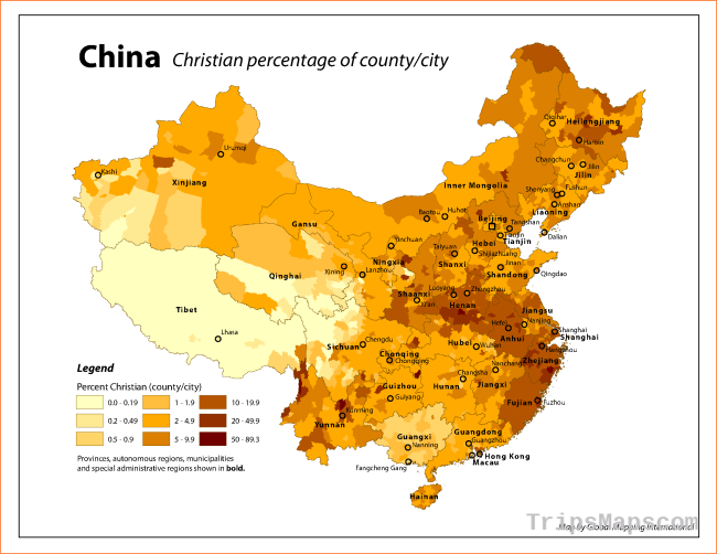 Map of Christianity in China, growing fast from