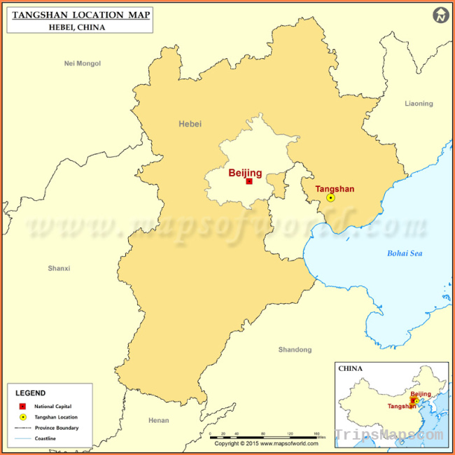 Where is Tangshan Located, Location of Tangshan in China Map