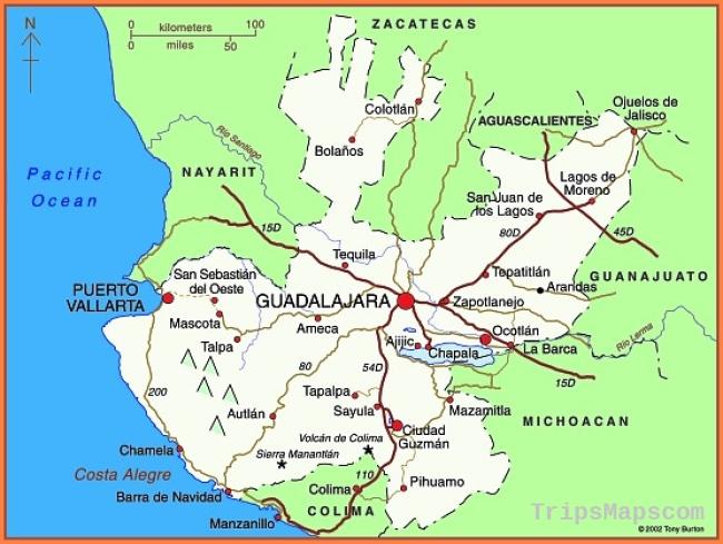 Map of the state of Jalisco, including Guadalajara, Puerto Vallarta