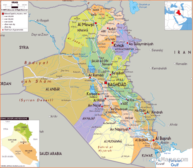 Maps of Iraq | Detailed map of Iraq in English