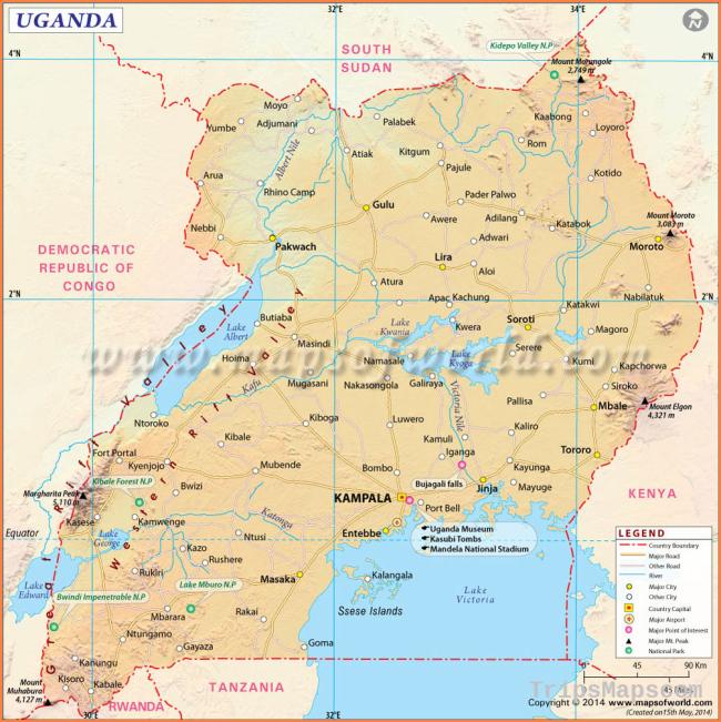 Uganda Map, Map of Uganda
