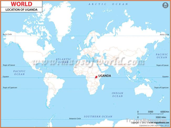 Where is Uganda Located? Location map of Uganda
