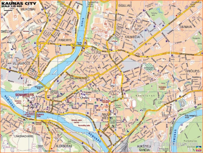 Large Kaunas Maps for Free Download and Print