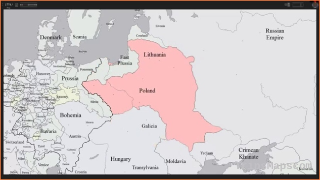 History Map of Poland & Lithuania
