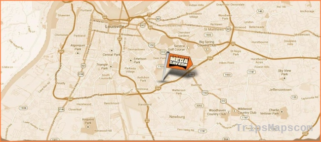 Louisville mega cavern map - Map of Louisville mega cavern