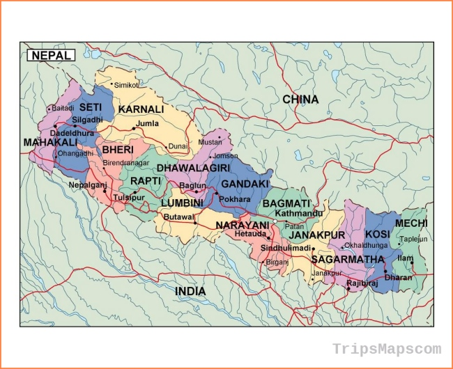 Map of Nepal - Where is Nepal? - Nepal Map English - Nepal Maps for ...