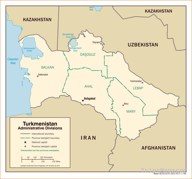 Maps of Turkmenistan | Detailed map of Turkmenistan in English