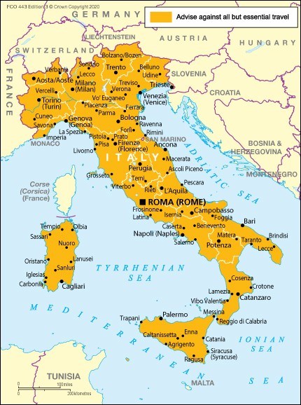 travel to italy map of italy
